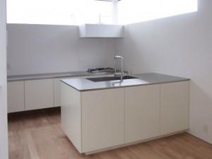 白い塗装扉、ステンレス天板の二列型キッチン。