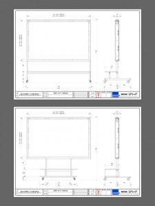 構造・意匠提案図面。開発秘話1…プロジェクターの1次試作モデル、スクリーンのサンプルの到着が遅れている中、図面による手探り状態での構造・使用提案でした。