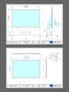 一次試作図面。[開発秘話2] この時点でもプロジェクターとスクリーンは図面の入手だけで、詳細については未だ未確定の部分が大きいというような状況。また、プロジェクター設計時にアジャスターを取り付けていないのでプロジェクター台の方にアジャスト機能を取り付けて欲しいとの追加依頼が…