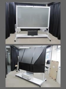 一次試作改良検証。[開発秘話5] スクリーン裏には軽量(発泡樹脂)ボードをマジックテープ固定で暗室を作り、プロジェクターへの遮光はリモコンの赤外線透過を考慮しスモーク色のアクリル板でカバーを製作して検証したところ問題なく画像を確認することが出来ました。