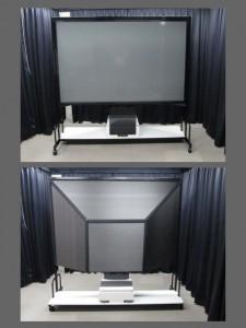 二次試作品。[開発秘話8] 依頼先からは概ね良しとの判断をして頂きましたが、スクリーン裏の暗室カバーの材質等を再度検討させて頂き当社案を次回試作において提出させて頂く事を了承して頂く。