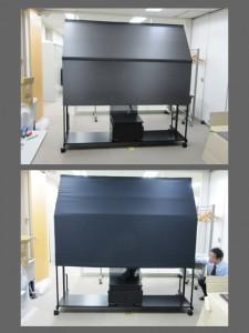最終試作品。[開発秘話10] スクリーン裏の暗室部を当社案として遮光率の高い布製で提案し、施工時間の短縮が出来た事よりこの案が採用されました。